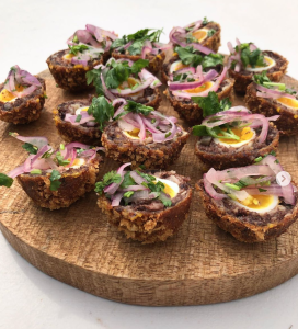 morcilla scotch eggs with salsa corello